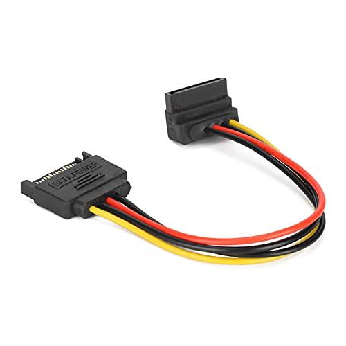 Heayzoki Cable de alimentación SATA, Cables SATA de 90 Grados, Adaptador de extensión de alimentación Macho a Hembra para Unidades ópticas HDD SDD, Paquete de 10 Cables SATA de 15 Pines.