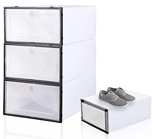 Fyfjur 4 Pezzi Scatola per Scarpe, Portascarpe, Contenitori per Scarpe, Scatole Portascarpe in Plastica Trasparente Impilabili, Contenitori per Organizer per Scarpe con Coperchi (31X21.5X12.5CM)