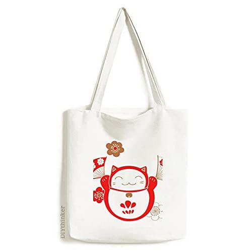 Lucky Fortune Bolsa de lona para fãs de flor de gato Japão, bolsa de compras casual