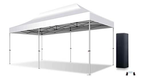 ACTIEXPRESS Tente Pliante Barnum Pliant Tonnelle Professionnelle 3X6 Structure en Aluminium 50mm Toit 520g/m² PVC M2 qualité professionelle Plus (Blanc)