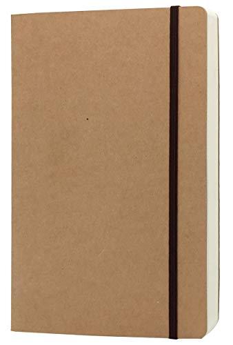 A5 blanko Notizbuch – 14,7 x 21,6 cm Hardcover Kraftpapier Skizzenbuch mit Gummibandverschluss, 80 Blatt/160 Seiten, dickes 100 g/m² Papier, ideal für Skizzieren, Schreiben und Tagebuch-Nachfüllungen