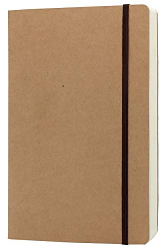 A5 Blank Notebook - 5.8 x 8.25 Inches Hard Kraft Cover Sketch Book with Elastic Closure, 80 Sheets / 160 Pages, Thick 100gsm Paper, Great for Sketching, Writing and Journal Refills