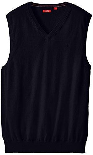IZOD Men's Big and Tall Fine Gauge V-Neck Sweater Vest, Midnight, Large Tall