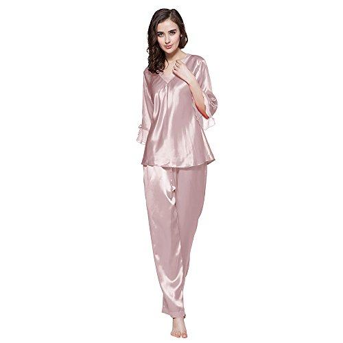 LilySilk 22 Momme 100% Seiden Nachthemd Nachtwäsche Spitze Maulbeerseiden (XS, Altrosa)