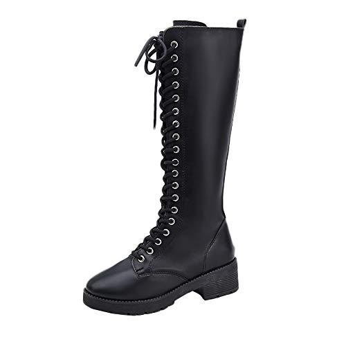 TUDUZ Retro Schnürstiefel Damenschuhe Schnürstiefel Blockabsatz Warm Gefütterte Reißverschluss Stiefeletten Stiefel