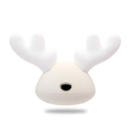 E-CHENG LED Antlers Night Light 7 Colorful Silicone Bedside Deer Lamp,USB Charging Reading Lamps And Baby Bedroom Feeding Light,Prefect Gift for Kids,Friends And Family (White)