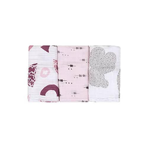 TOUS BABY - Set 3 Mini Muselinas, para tu Bebé. Estampados Variados. 38x38 cm. (0 a 36 Meses) (Bambú Rosa)