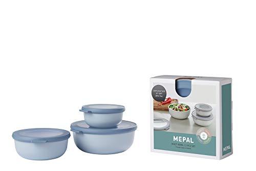 Mepal Multischüssel-Set Cirqula 3-teilig Blue – flach und rund –Inhalt: 350, 750 1250 ml – bruchfestes Material-auslaufsicher – tiefkühlgeeignet-spülmaschinengeeignet, PP/TPE, Nordic Blau, 19.2 x 8 cm