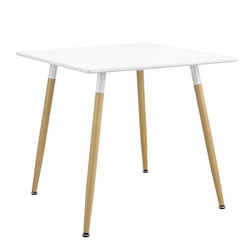 [en.casa] Esstisch Quadratisch 80x80x74cm Weiß Matt Buche Küchentisch für 3 Personen Esszimmer Tisch Retro