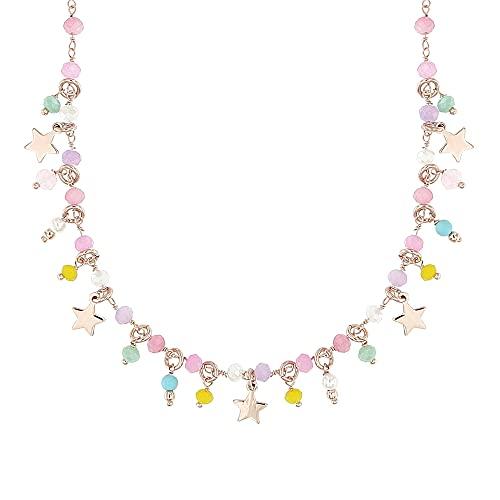 Linea Italia Gioielli - Collana per Donna Con Stelle In Argento 925 E Perline Colorate - Made In Italy