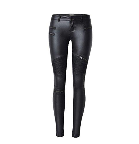 YiLianDa Donne Punk Stile Stretch Pu Pelle Pantaloni Leggings 34