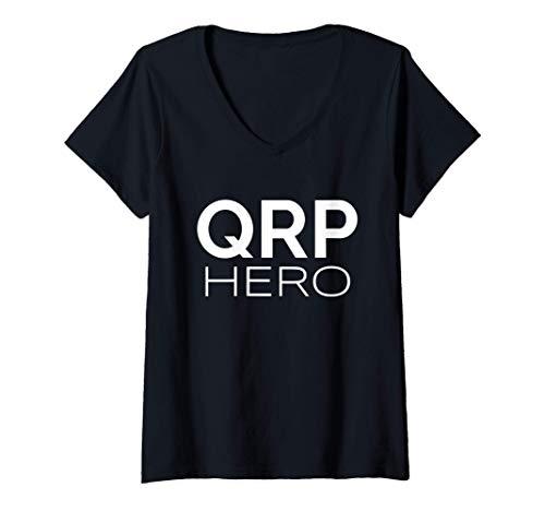 Mujer QRP Hero HAM Radio de baja potencia Q-code Mobile Base QRP Camiseta Cuello V