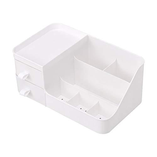 BSTCAR Multifunktional Schreibtisch Organizer, Schminkaufbawahrung Prägnant, Schmink Make Up Organizer mit Schubladen Kosmetik Organizer Aufbewahrung (2 Schublade, Weiß)