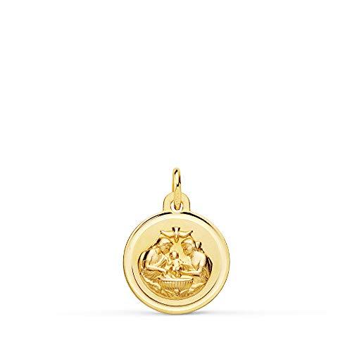 Medalla de Bebé Bautismo Cristiano Oro Amarillo 18K 12mm Bisel - Grabado personalizado incluido