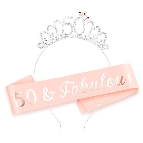 HOWAF Oro Rosa 50 cumpleaños Faja de satén cumpleaños Banda y 50 Diadema Tiara para Mujer 50 Años cumpleaños Fiesta de Decoración Accesorios Regalo Mujer