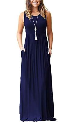 MOLERANI Women's Sleeveless Loose Plain Maxi Dresses Casual Long Dresses with Pockets