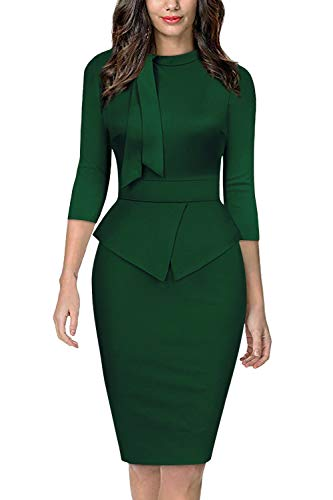 Moyabo Women's Formal Elbow Sleeve Stretch Waist Office Business Work Pencil Dresses Green Large