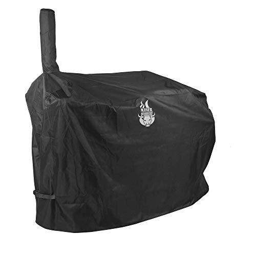 """Mayer Barbecue Grillabdeckung Grill Abdeckhaube für 16\"""" Longhorn Smoker Wetterfest stabiles Polyester 600D, 144 x 65 x 142 cm (L x B x H), Schwarz"""