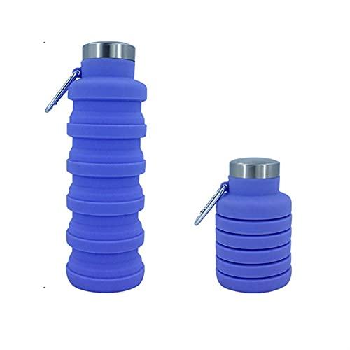 LDH Botella Agua Deportiva Plegable Creativa a Prueba de Fugas de Silicona 500ml con Mosquetón para Senderismo Que Corre Gimnasio (Color : Púrpura)