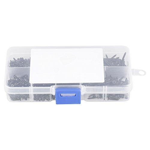 1000 st/ücke Kleine Schwarze Schrauben Kreuzkopf selbstschneidende Schrauben Sortiment Kit M1 M1.2 M1.4 M1.7 mit einem Kunststoff Aufbewahrungsbox