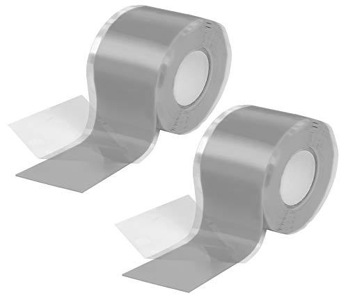 Poppstar 2x 3m selbstverschweißendes Silikonband, Silikon Tape Reparaturband, Isolierband und Dichtungsband (Wasser, Luft), 38mm breit, grau