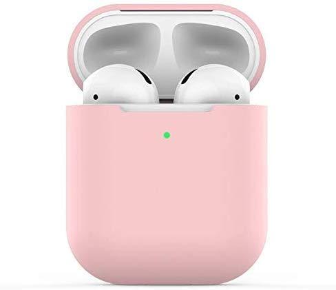 Airpods Custodia in Silicone Compatibile con AirPods 2 Custodia, KOKOKA Silicone Protettiva Case Cover for Airpods (LED anteriore Visibile) - [Supporta la Ricarica Wireless] Rosa