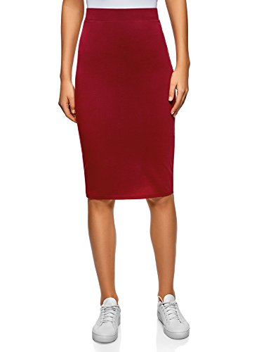 oodji Ultra Mujer Falda Lápiz Básica, Rojo, ES 40 / M