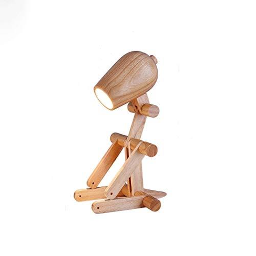 XZJJZ lámpara de mesa de perro de madera creativa del diseño lámpara de mesa de noche, plegable ajustable Estudio Escritorio dormitorio de la lámpara de iluminación decorativa for niños, sala de estar