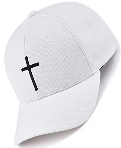 Bexxwell Baseball Cap weiß mit Kreuz-Stickerei (optimale Passform, Kappe, White, Baseballcap, Cross, Basecap,Unisex)