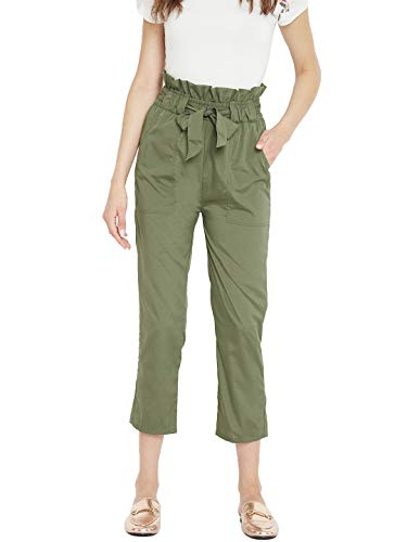 PANIT Women's Cropped Pants (DSG117C_Olive_Medium)