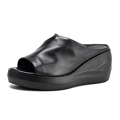 Sandalias de Talón Abierto Mujer,Una Plataforma Impermeable Zapatillas de Cuero, Pendiente de Boca de Pescado con Sandalias livianas-Negro_39,Sandalias de Piscina Mixtas