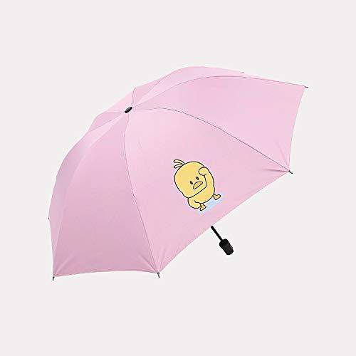 xinrongqu Paraguas de Tela Escocesa Cuadrada Paraguas de plástico Negro Paraguas Paraguas Paraguas Paraguas Tres sombrillas Plegables Pequeño Pato Amarillo Varilla audaz Rosa58