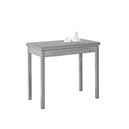 ASTIMESA Tipo Libro Mesa de Cocina, Metal, Gris, 90x50cm