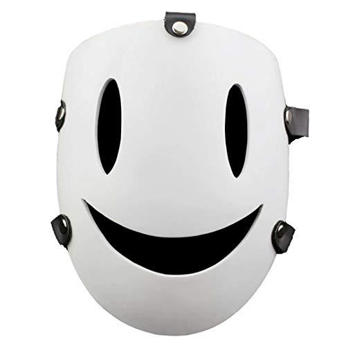 High-Rise Invasion Cosplay Maske Anime Scharfschütze Weiß Lächeln Maske High-Rise Invasion Cosplay Kostüm Harz Integral Helm Horror Kopfbedeckung, Halloween Cosplay Charakter Party Kostüm Requisiten