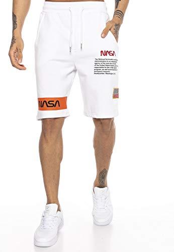 NASA Red Bridge - Pantaloni Corti da Uomo, Bermuda Corti con Logo U.S. Flag Logo Bianco M
