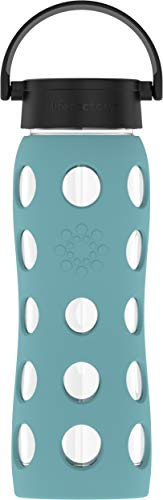 Lifefactory Glas Trinkflasche mit Silikon-Schutzhülle, BPA-frei, auslaufsicher, spülmaschinenfest, 650ml, aqua teal 18214