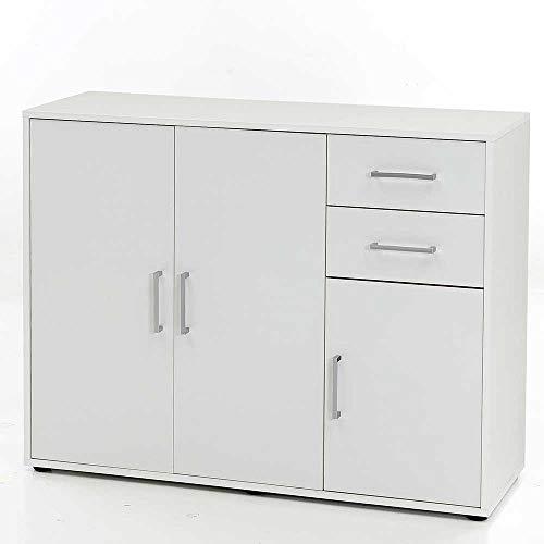 Pharao24 Kommode in Weiß Türen und Schubladen