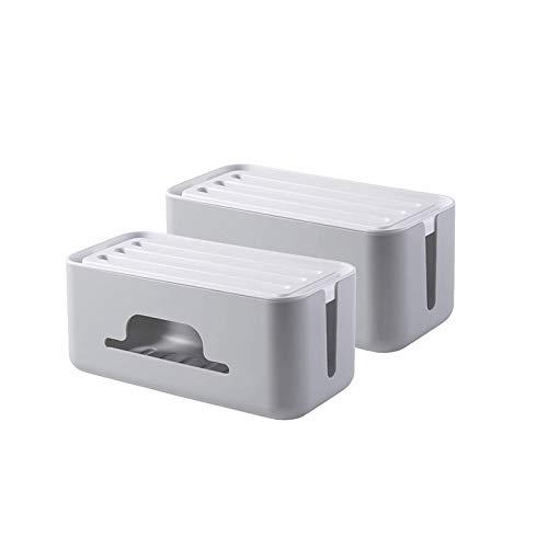 OMKMNOE Conjunto 2 Caja Cable, Caja Administración Cables para Ocultar para Cable En La Ensalada Cable Almacenamiento De Cables Organizador Caja De Recepción Cable Carga Aplicación Multiusos,Gris
