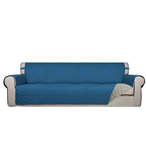 PureFit Funda de sofá reversible acolchada de 4 plazas, resistente al agua, lavable, con espuma antideslizante y correas elásticas para niños, perros, mascotas (XX grande, azul pavo real, beige)