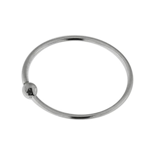 AZARIO LONDON 9MM Diameter - 22 Gauge 925 Sterling Silver Open Hoop Nose Ring with Ball Nose Ear Tragus Ring