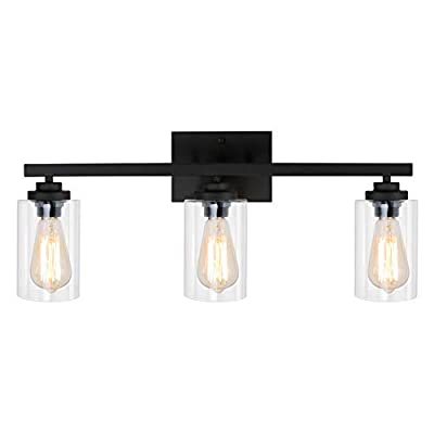 WBinDX 3 Lights Bathroom Vanity Light Fixtures Black Wall Sconce Lighting with Clear Glass Shade Modern Industrial Wall Lamp for Bedroom Living Room Porch Hallway Kitchen