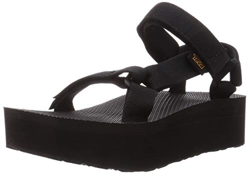 Teva Women's Flatform Universal Platform Sandal, Black, 10 M US