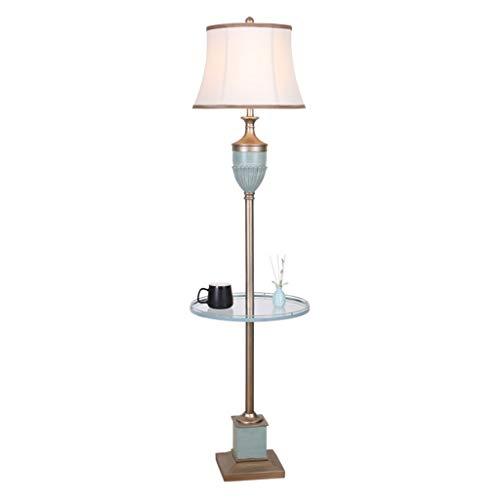 QTDH staande lamp licht met bijzettafel klassieke kunst afstandsbediening leeslamp hoge paal taak verlichting voor woonkamer kantoor