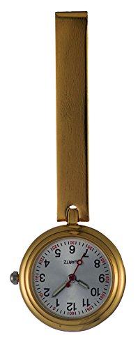 Ellemka JCM-1020 – Exquisite Schwesternuhr Clip zum Anstecken FOB Kittel Krankenschwester Pflege-r Quarz Puls-Uhr Tasche-n Band Ansteck-Nadel Fashion Trend Design - Farbe Gold