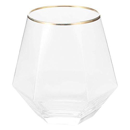Vasos de whisky de 260 ml, vaso de beber transparente con borde dorado de forma hexagonal única para uso en bares domésticos