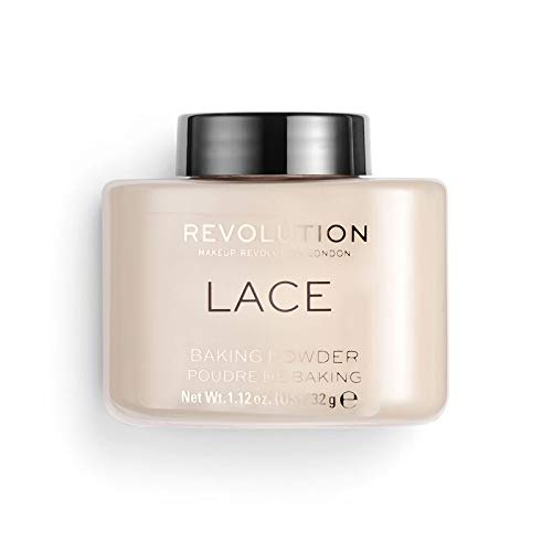 Makeup Revolution Lace Luxury Baking Powder for Medium Skin Tones Prolonging the Wear of Makeup, Lace, 1.12 Ounce, Finishing Loose Powder Makeup for Banishing Shine and Silky Finish
