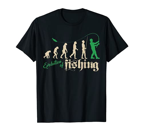 Angeln T-Shirt Evolution of fishing Fischen lustige Sprüche T-Shirt