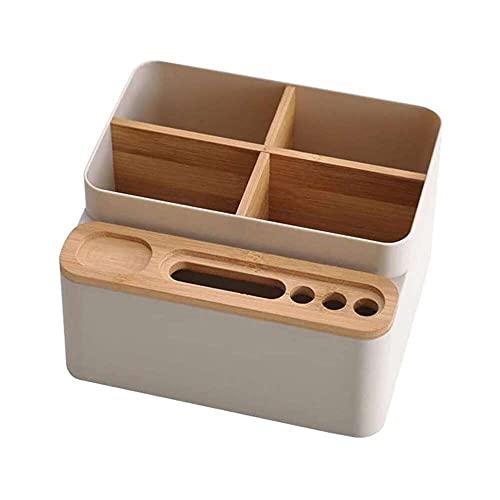 zhaita Organizador de escritorio de bambú, caja de almacenamiento de suministros de oficina, soporte de escritorio desmontable, para control remoto, lápiz, tijeras, cuaderno pequeño