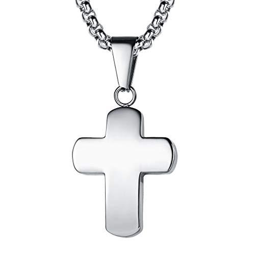 FaithHeart Collar Colgante Cruz Cuadrada de Acero Inoxidable Encanto para Mujer Hombre Joyería Cristiana Medieval con Caja Regalo Cadena de 50cm 20 Pulgadas Largo
