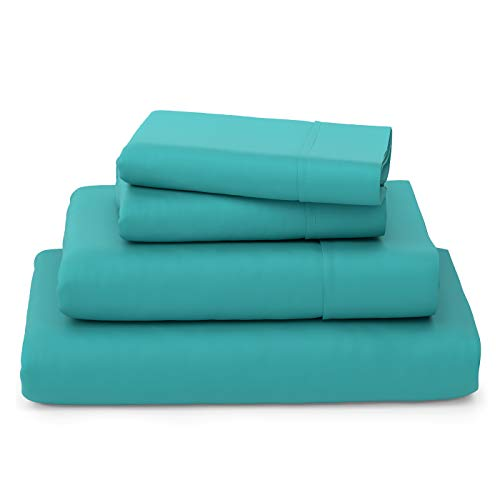 Cosy House Collection Luxury Bamboo Bed Sheet Set - Hypoallergenic Bedding Blend from Natural Bamboo Fiber - Resists Wrinkles - 4 Piece - 1 Fitted Sheet, 1 Flat, 2 Pillowcases - King, Turquoise